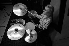 Paige at Rehearsal Drumming