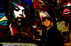 Simon In front of Graffiti at Fiddlers Elbow